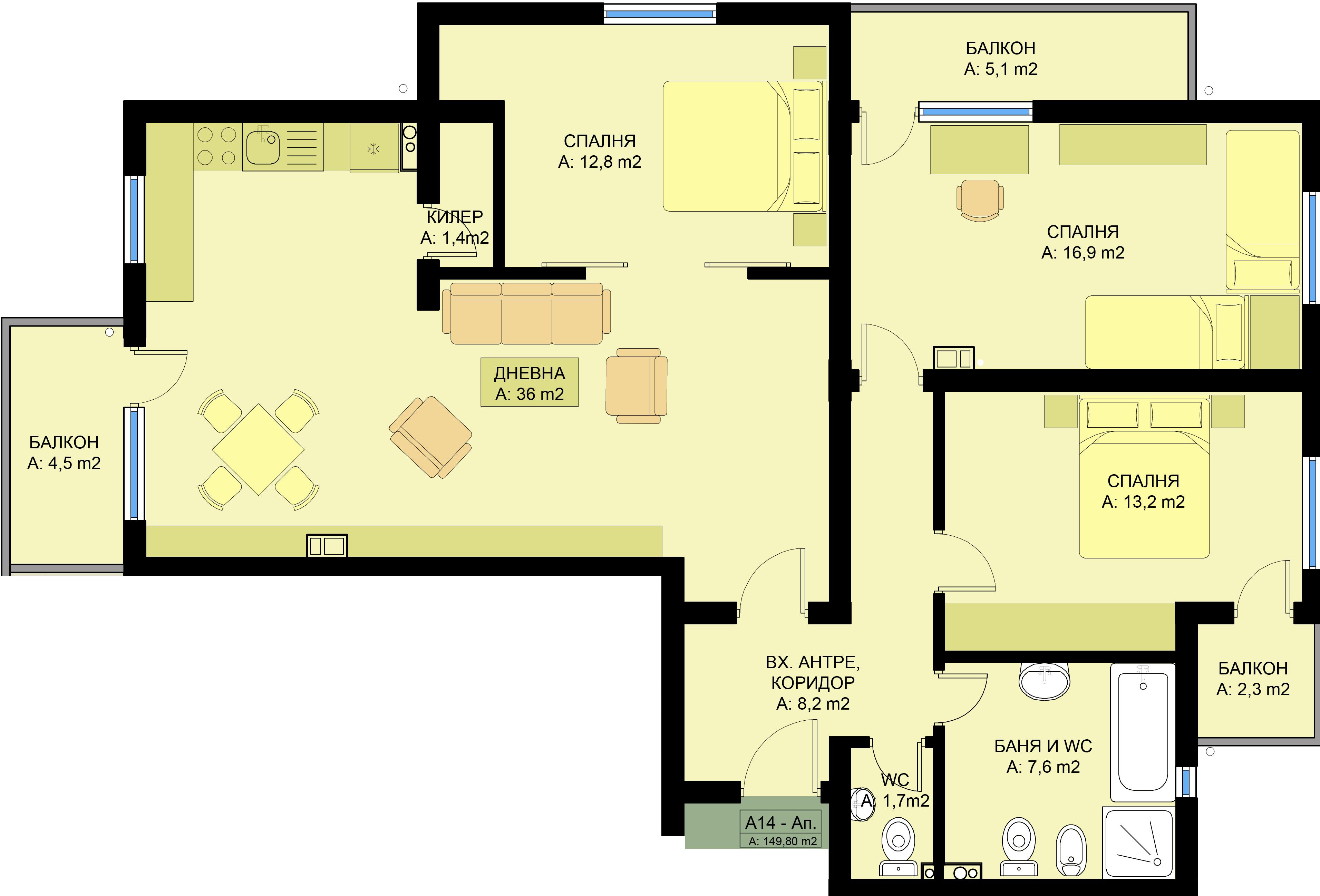 Complex Family 4 Three Bedroom Apartments