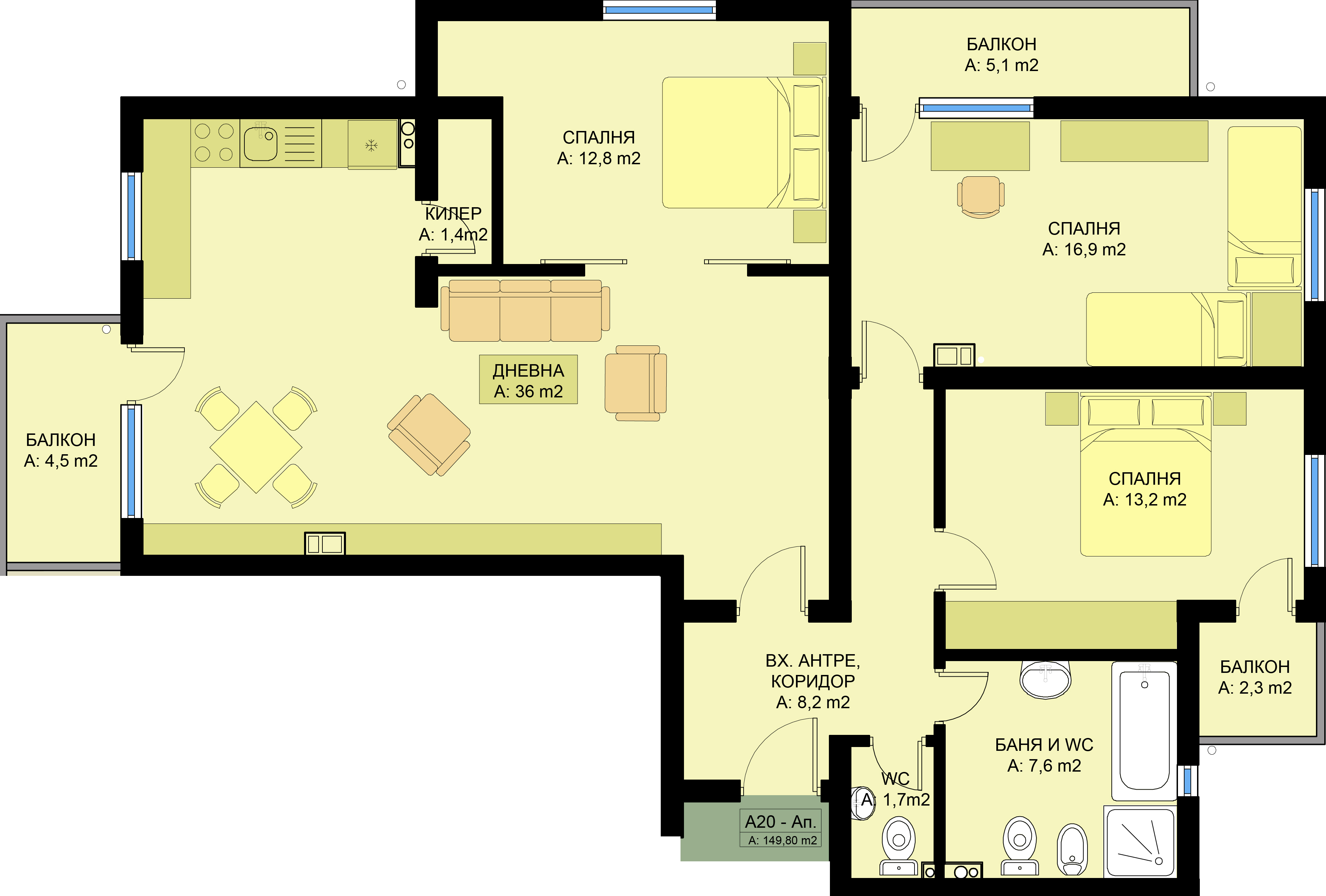 Complex family 4 three bedroom apartments www for Apartment complex layout